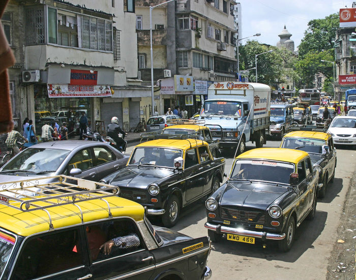 Mumbai Taxis Architecture Building Exterior Built Structure Car City Day Indian Traffic Land Vehicle Large Group Of People Mode Of Transport Mumbai Street Scene Outdoors People Real People Street Transportation #urbanana: The Urban Playground