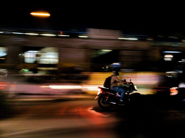 Night Illuminated Street On The Move Motorcycle Road Transportation Mobile Photography Oneplus3T Speed Motion Transportation