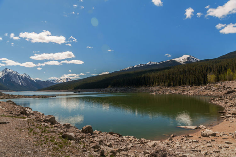 Alberta EyeEm Best Shots EyeEm Nature Lover America Beauty In Nature Canada Day Icefield Parkway Jasper National Park Lake Landscape Medicine Lake Mountain Mountain Range Nature No People Outdoors Reflection Scenery Scenics Sky Tranquil Scene Tranquility Water