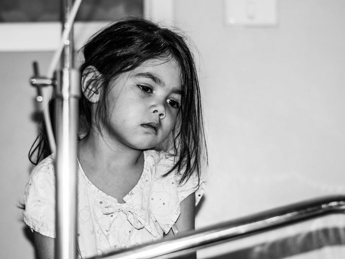 Thoughtful Sick Girl In Hospital
