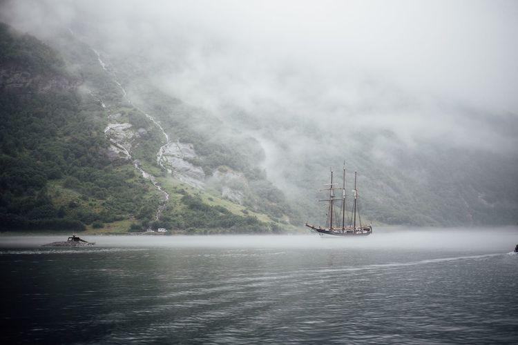 Tall ship in sea