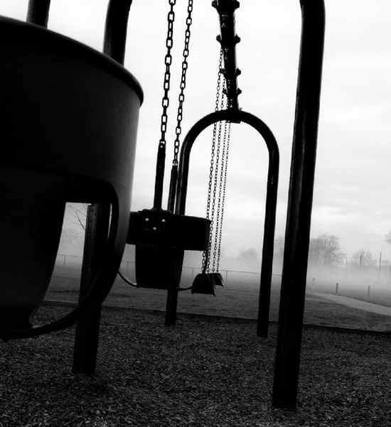Swingtime Park Parks And Recreation Foggy Morning Tranquil Scene Swingset Bare Tree Outdoor Play Equipment Close-up Atmospheric Mood Fog_collection Fog Tree Swing Pulley Sky Black And White