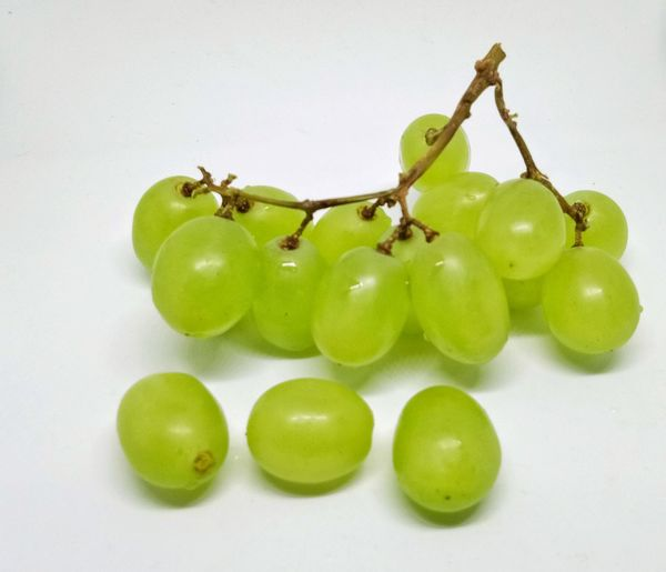 Green juicy grapes isolated on white background Green Sweet Wine EyeEm Selects Fruit Green Color Food And Drink Food Healthy Eating Freshness Leaf No People Close-up Nature White Background Day Outdoors Studio Shot
