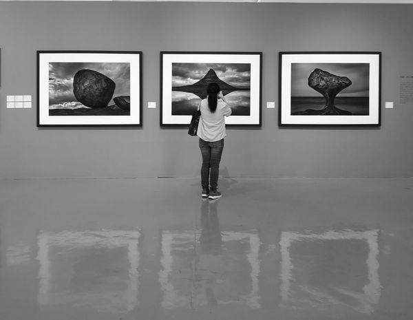 Photos On The Wall Wall Black And White Huawei P20 Pro Photograph Full Length Young Women Standing Photographing Photography Themes Arts Culture And Entertainment Museum Art Museum Exhibition
