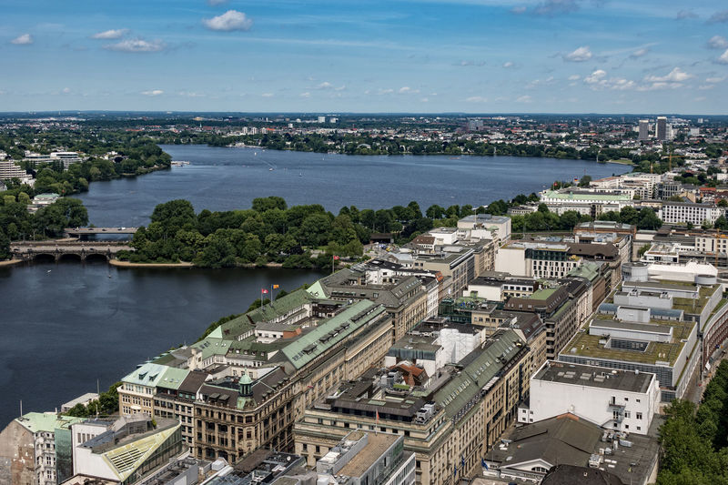Hamburg Aerial View Architecture Außenalster Binnenalster Building Exterior Built Structure City Cityscape Cloud - Sky Day High Angle View Horizon Over Water Nature No People Outdoors Residential Building River Sky Transportation Water