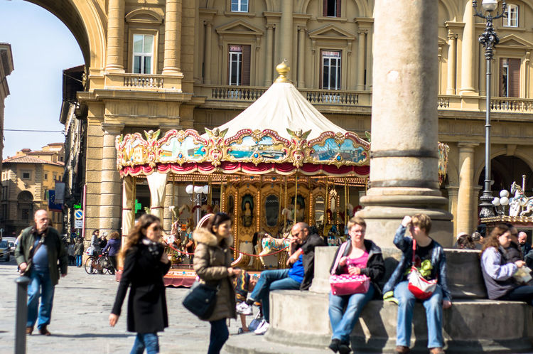 Architectural Column Architecture Building Exterior Built Structure Carousel City Day Discover Florence Discover Italy Firenze Firenze With Love Florence Italy Italy Large Group Of People Outdoors Plaza Real People Travel Travel Destinations Travel Photography