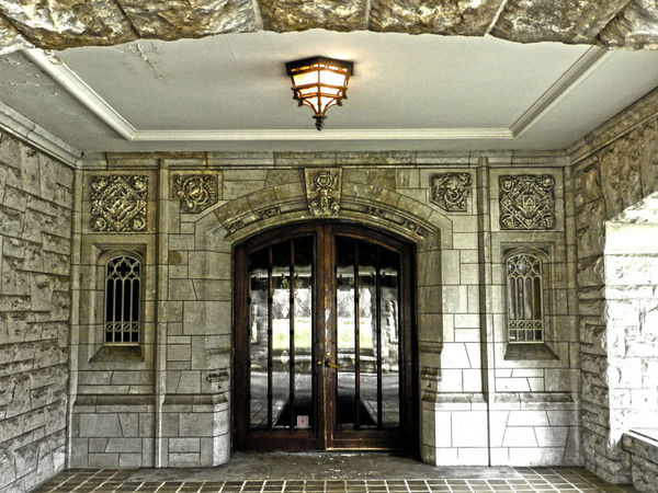 Henry Ford's Front Door Architectural Feature Architecture Building Built Structure Closed Day Doorway Empty Entrance Entryway Estate Henry Ford The Architect - 2016 EyeEm Awards Light Wood Glass Reflection Door Henry Ford Estate Mansion Dearborn Michigan Closed Door Stone Work Stone Wall