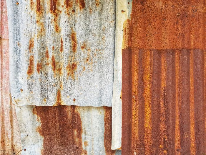 Rusty Rusty Metal Backgrounds Full Frame Textured  Pattern Paint Close-up Peeled Bad Condition Damaged Abandoned Discarded Obsolete Deterioration Weathered Corrugated Iron Corrugated Peeling Off Run-down Ruined Broken