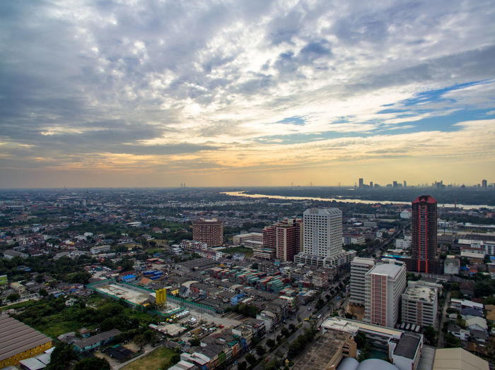 Industrial city Droneshot City Building Exterior Sky Cityscape Architecture Built Structure Cloud - Sky Building High Angle View Office Building Exterior Skyscraper Nature City Life Crowd Sunset Aerial View Landscape Tower Residential District Modern Outdoors