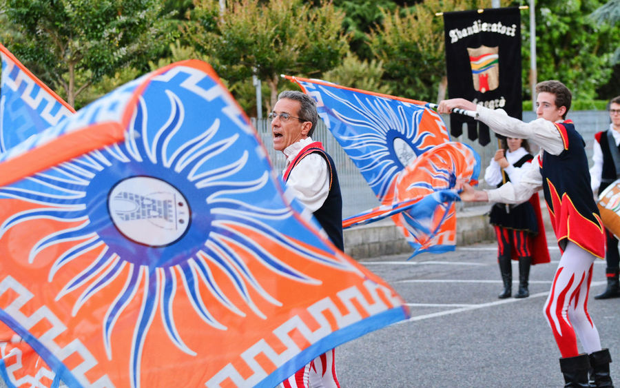 Sbandieratori di Fenegrò flag wavers - Cadorago, Lombardy, Italy. Adult Celebration Cultures Day Enjoyment Fenegrò Flag Flag Waver Gruppo Sbandieratori E Musici Leisure Activity Outdoors People Performance Teamwork Togetherness Waver