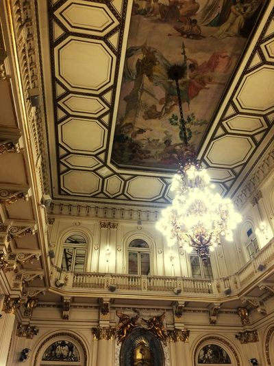 Salón Blanco. Ceiling Indoors  Architecture Built Structure Pattern No People Low Angle View Building Ornate Chandelier History Travel Destinations Architecture And Art Decoration
