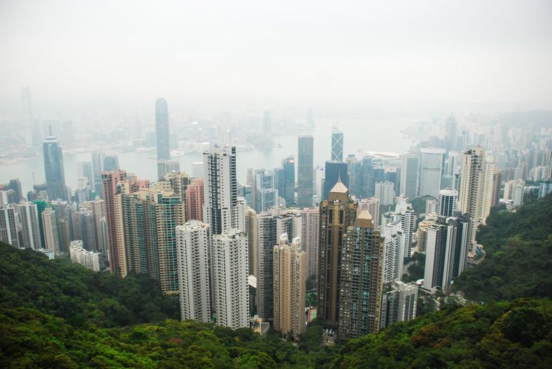 🇭🇰 Skyscraper Cityscape Architecture City Building Exterior Urban Skyline Built Structure Day Modern No People Fog Outdoors Tree Sky Nature Hong Kong ASIA Travel City The Peak Peak Tram Victoria Peak, Hongkong Victoria Peak