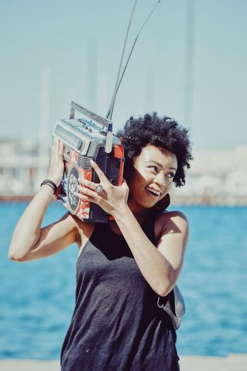 Ghetto Blaster Water One Person Holding Focus On Foreground Sea Lifestyles The Portraitist - 2018 EyeEm Awards Real People Women Front View Beautiful Woman