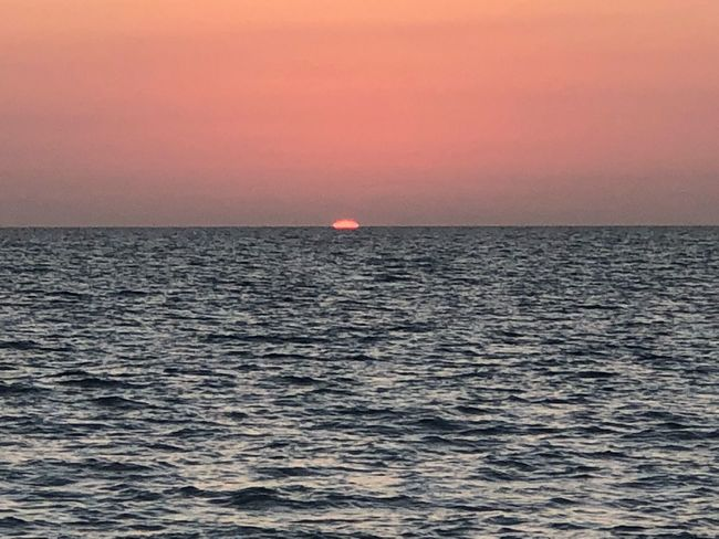 Barely there. Sea Horizon Over Water Scenics Sunset Beauty In Nature Tranquil Scene Tranquility Nature Clear Sky Beach No People Sun Outdoors Day Idyllic Rippled Waterfront Sky Water