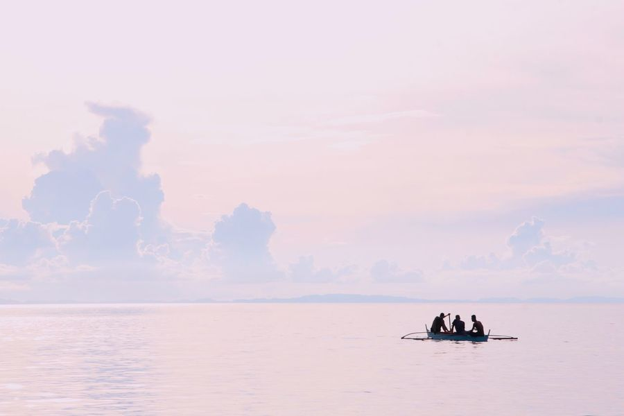 Three men on small boat Nautical Vessel Transportation Sky Water Nature Silhouette Cloud - Sky Beauty In Nature Scenics Sunset Horizon Over Water Outdoors Real People Women Men Sailing Tranquility Tranquil Scene Outdoors People The Great Outdoors - 2017 EyeEm Awards The Great Outdoors - 2018 EyeEm Awards