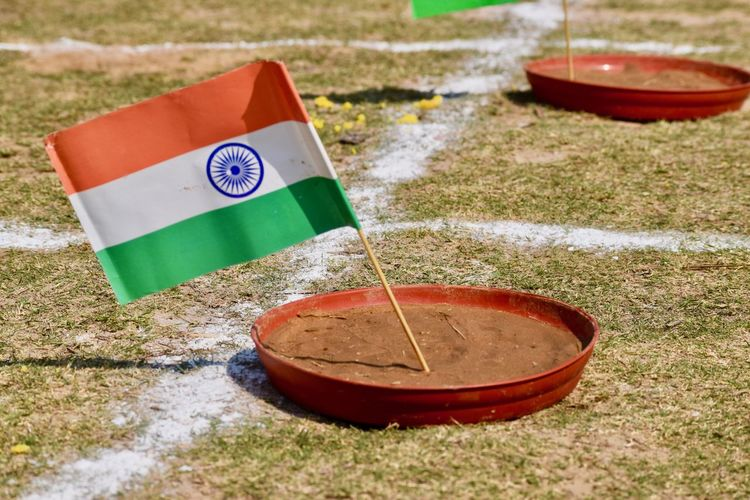 An indian flage in the play ground