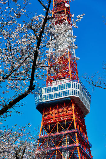 Low angle view of tower against sky with cherry blossom