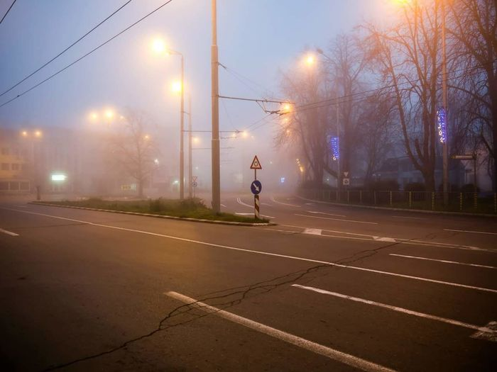 Road Roadsign Foggy Foggy Weather Foggycity City Cityscape Cityview Mysterious Autumn Winter Cold November Oktober Crossroad Dimlight Streat Light Streat Easterneurope Bulgaria Varna Afternoon Nopeople