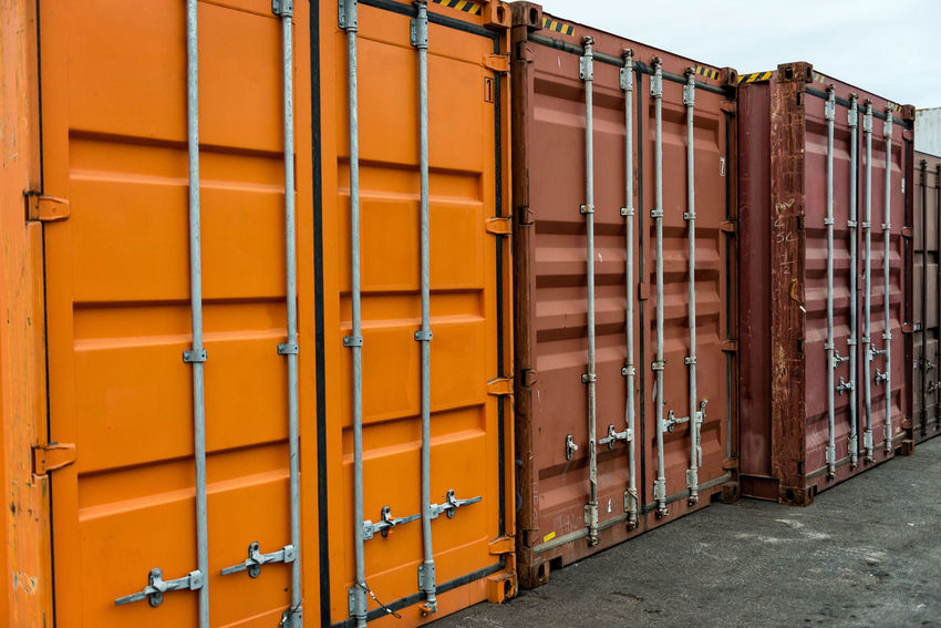 Port container row. Business Container Goods Harbor Industry Cargo Loading Logistic Metal Storage Terminal Unload Warehouse