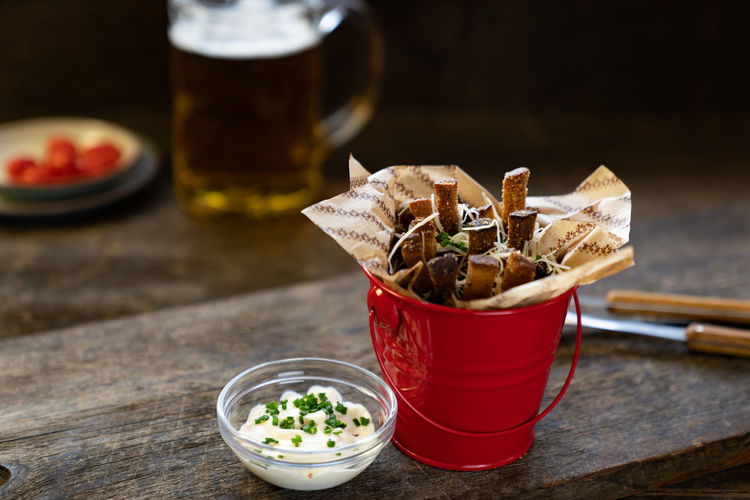 Rye fries in red bucket