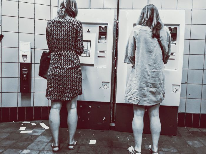 Girls Back People Watching People Background Blackandwhite Black And White Blackandwhite Photography Black & White Black And White Photography Black And White Collection  Automat Ticket Machines My Commute Girlpower
