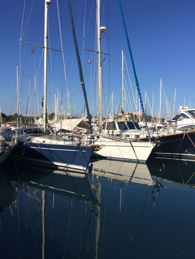 Right place Lifestyles Enjoying Life Trip Beautiful Sea And Sky Seaside Springtime Mirror Reflections Light Sunlight Harbor Boats Water Waterfront Water Reflections Blue Blue Sky Nautical Vessel Water Transportation Mast Sailboat Sky No People Sea