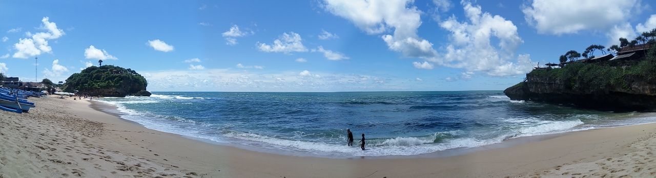 Beach Sea Water Tropical Climate Island Sand Cloud - Sky Vacations Travel Destinations Sky Nature Blue Tree Tourism Travel Tourist Resort Summer Day Outdoors Beauty In Nature INDONESIA Yogyakarta Panoramic View Panorama Panoramic Photography