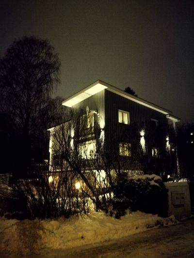 'Christmas LIGHT's' Streetphotography Oslostreets Residential District Afternoon Photographing Moments Spooky Atmosphere Spooky Tree Architecture Sky Building Exterior Built Structure Civilization