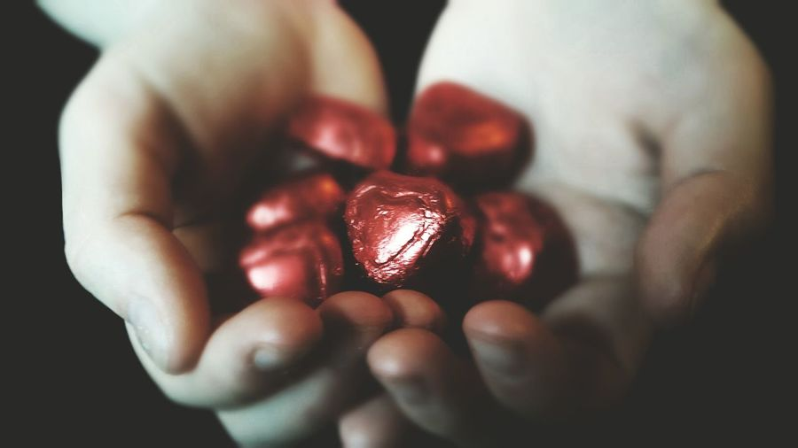 Cropped hand holding chocolates
