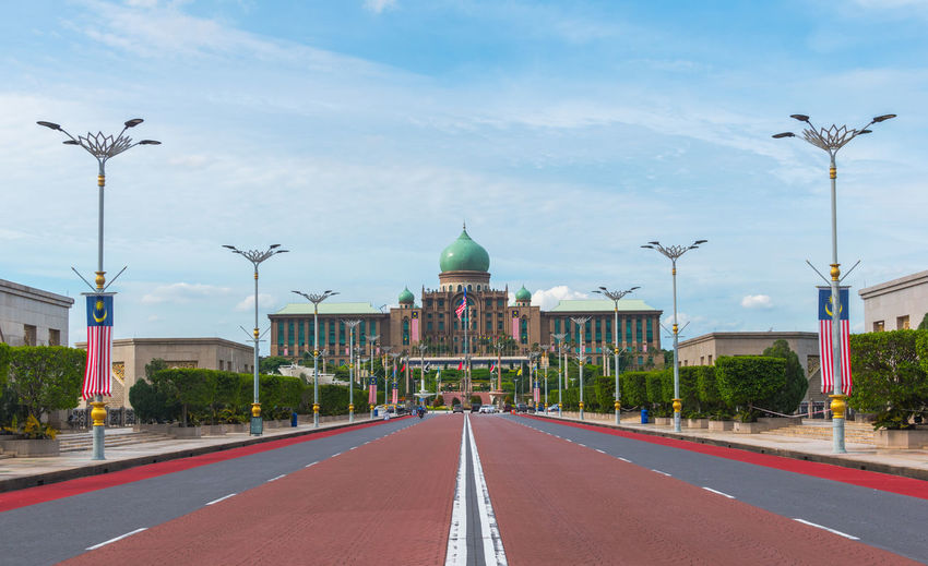 Malaysian Prime Minister office, Perdana Putra in Putrajaya. Architectural Column Architecture Building Exterior Built Structure City Dog Empty Government Lamp Post Malaysia Office Building Outdoors Perdana Prime Minister Putrajaya Putrajaya,malaysia Road Street Light Walkway