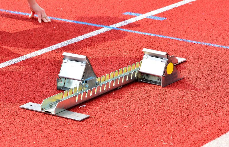High angle view of equipment on sports track