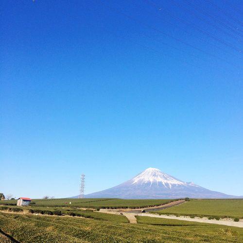 Mt fuji against clear blue sky