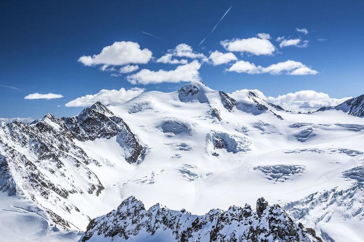 Panoramic view of Wildspitze, Tirol Alps, Austria Austria Innsbruck Kaunertal Obergurgl Panorama Südtirol Tirol  Wildspitze Alps Glacier Italy Mountain Range Peak Pitztal Pitztaler Gletscher Ski Ski Mountaineering Ski Resort  Snow Snowcapped Mountain Summit Tranquil Scene Vinschgau Winter ötztal