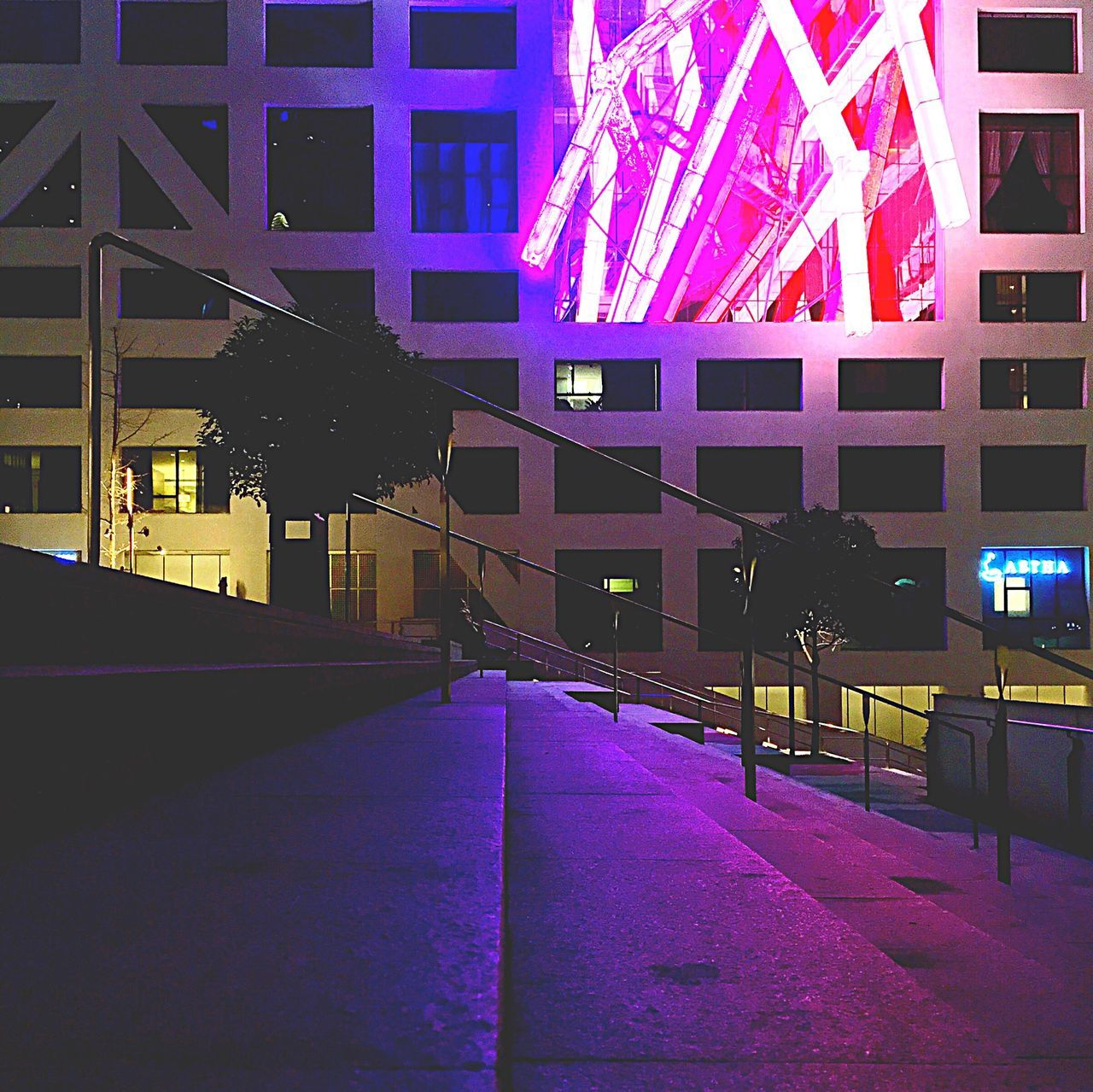 illuminated, night, architecture, building exterior, built structure, travel destinations, outdoors, city, multi colored, modern, no people