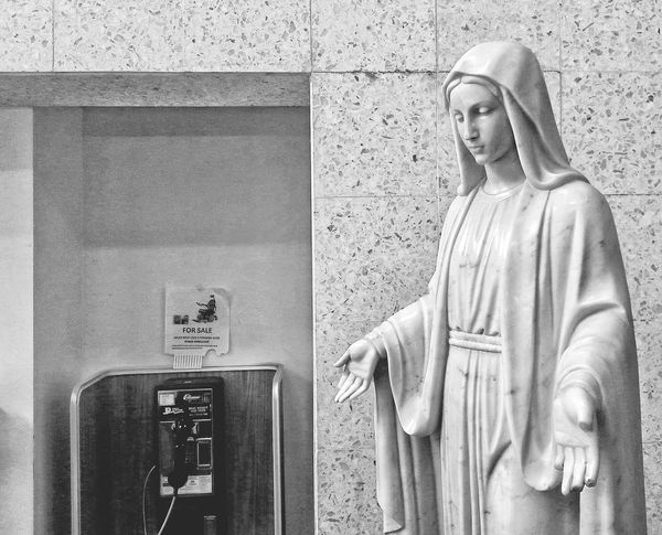 For Sale... Statue Indoors  No People Snapseed Monochrome Black And White Blackandwhite Black & White SF San Francisco California Telephone Payphone Madonna Mary Mother Mary Religion Religious  Religious Symbol Religious Art Religious Icinography Religious Icon