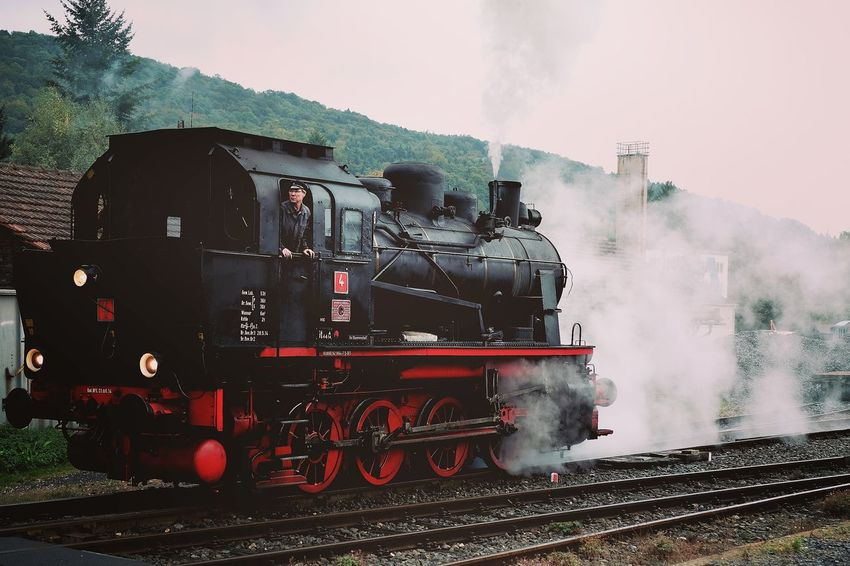 Transportation Smoke - Physical Structure Mode Of Transport Land Vehicle Motion Travel Railroad Track Steam Train The Past Industry Journey Day Taking Photos Outdoors On The Move Train - Vehicle Hanging Out