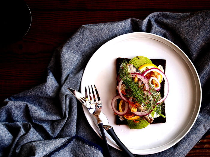 Danish open face sandwich Denmark Food Art Food Styling Sandwich Close-up Directly Above Food Food And Drink Freshness Gourmet Healthy Eating Meal Plate Ready-to-eat Smørrebrød Table