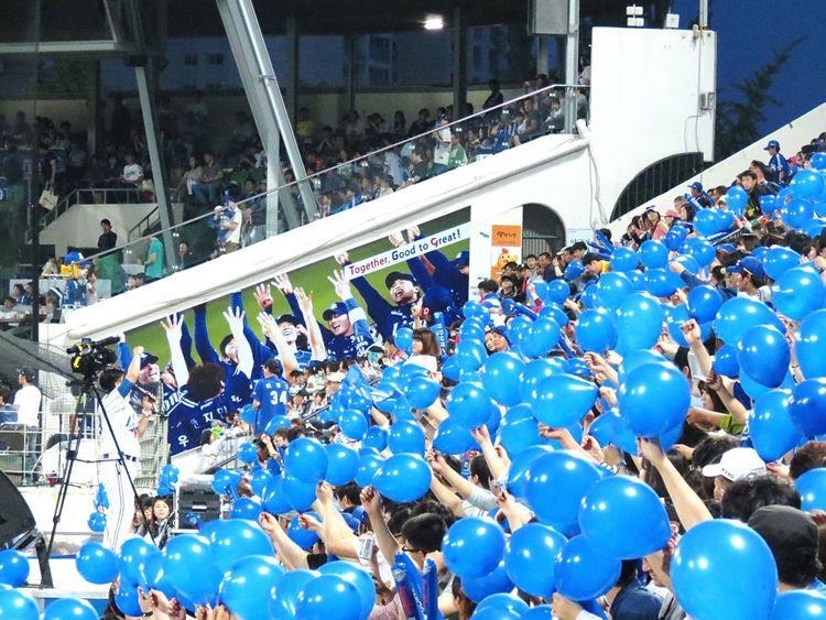 Baseball Baseball Field Baseball Stadium Cheering Blue Balloons Samsung LIONS