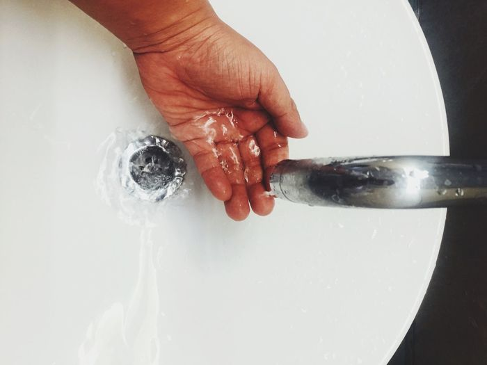 Human Hand Hand Human Body Part One Person Indoors  Human Finger Real People Finger Body Part Unrecognizable Person Home Sink Domestic Room Water Close-up Washing Bathroom Cleaning Running Water Clean