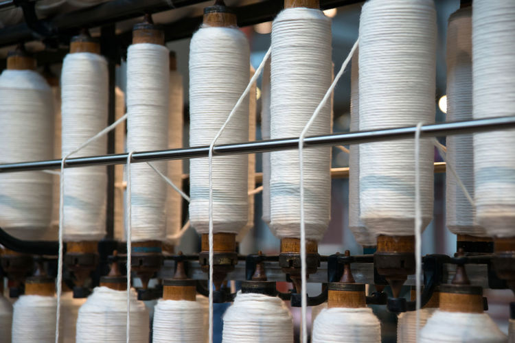 Backgrounds Close-up Cotton Fabric Making Group Of Objects In A Row Industry Japan No People Order Repetition Selective Focus Spine Spinning Textile Thread Toyoda Weaving White