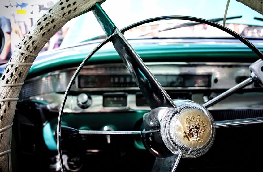 Ilkeston Car Show Car Transportation Mode Of Transport Land Vehicle Retro Styled Old-fashioned Stationary No People Focus On Foreground Day Outdoors Close-up Steering Wheel Vehicle Interior Vehicle Cars American Cars