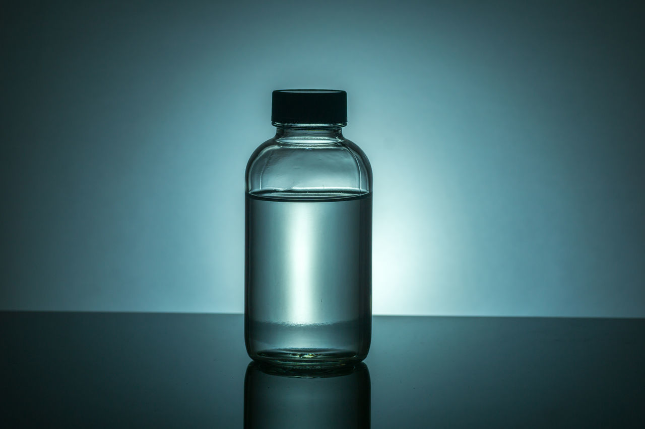 Studio Shot Of Glass Bottle