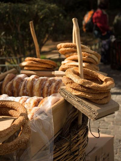 Close-up of fresh pretzels
