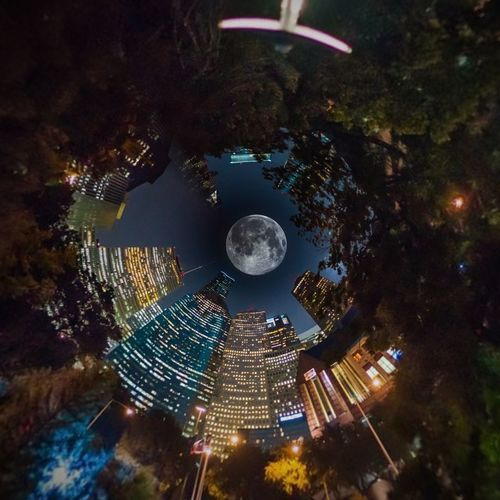 Beautiful Hanging Out Hi! Houston USA Texas Downtown Moon Panorama Bulb