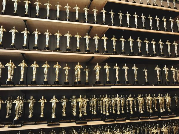 The Oscars Full Frame No People Backgrounds Side By Side Arrangement In A Row Shelf
