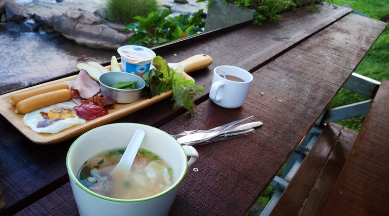 Goodd morningg Food And Drink Drink Table Tea - Hot Drink Food Healthy Eating High Angle View Freshness Refreshment Outdoors Day No People Bowl Ready-to-eat Nature Brakefast Happiness