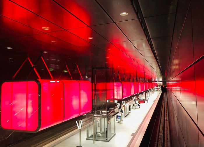 U-Bahn Station HafenCity Red Light And Shadow Urban Hamburg Eyeemselects EyeEmSelect U-Bahn Transportation Illuminated Red Mode Of Transportation Lighting Equipment Land Vehicle Architecture Indoors  Travel Incidental People Public Transportation In A Row The Way Forward Built Structure Direction Rail Transportation City Light Diminishing Perspective Ceiling