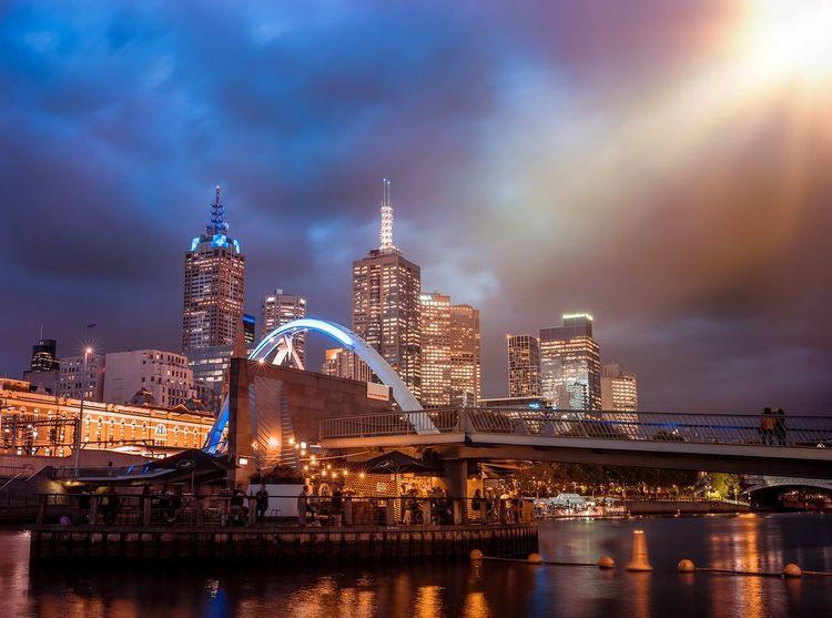 City Cityscape City Life Bridge Melbourne Melbourne City Blue Red Night_photo Sony Melbourne Night Street Waterfront