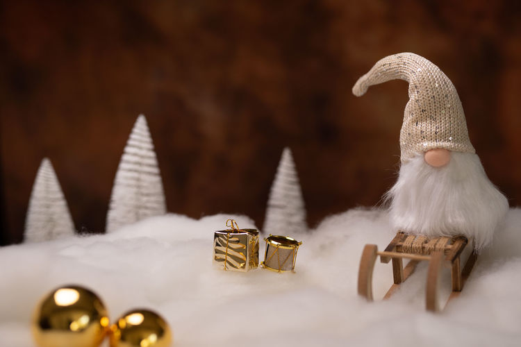 Xmas Sleigh Christmas Winter Studio Shot Traditional Santa Claus Warm Colors Space For Text Still Life Snow Decoration Scenery Hat Beard White Hair Holidays Tree Balls Golden Christmas Decoration