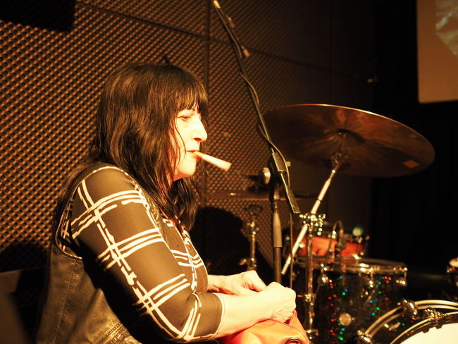 Lydia Lunch in Turin Lunch Lydia Smoking Woman Arts Culture And Entertainment Concert Drum - Percussion Instrument Lydia Lunch, Music Musical Instrument Musician Performance Playing Real People Rock Music Turin